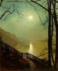 moonlight on the lake, roundhay park, leeds by john atkinson grimshaw