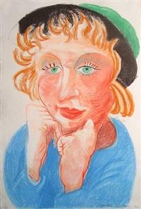 celia in a green hat by david hockney