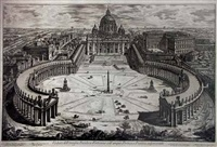 veduta dell insigne basilica vaticana coll' ampio portico, e piazza adjacente (st. peter's, with forecourt and colonnades, bird's eye view) by giovanni battista piranesi