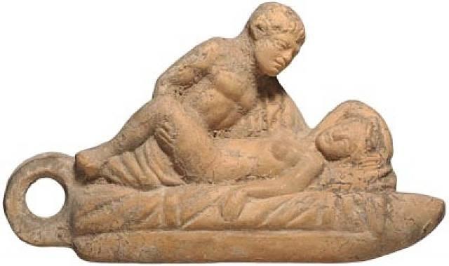 roman terracotta erotic lamp