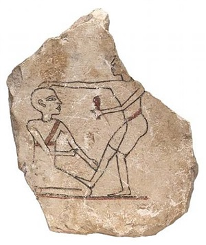 egyptian limestone ostracon (stone flake with a head-shaving scene)