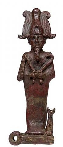 egyptian bronze figure of osiris with bastet-cat and falcon