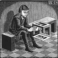 man with cuboid by m. c. escher