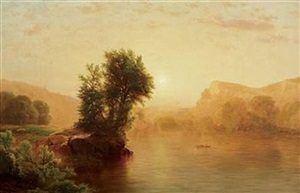 luminist sunset on a lake by william mason brown