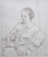 'mother & child nursing by achille jacques jean marie devéria
