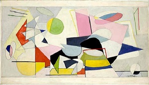 first study for the williamsburg mural by ilya bolotowsky