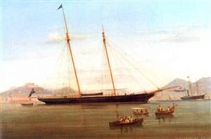 british schooner anchored at naples by tommaso de simone