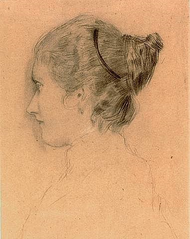 girl in profile by gustav klimt