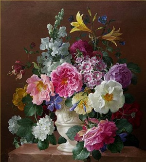 flowers in a white urn on a marble ledge by harold clayton