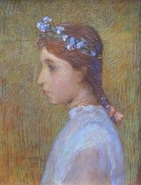 portrait de marguerite, soeur de l'artiste by henri le sidaner