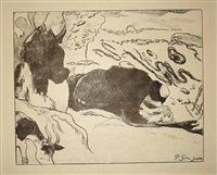 les laveuses: plate 9 from the portfolio of 10 zincographies (+ cover) by paul gauguin