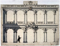 elevation of the cortile of the palazzo borghese, rome by paolo posi