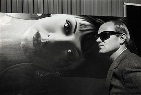 james rosenquist at the billboard factory, 1964 by dennis hopper