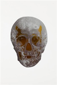 the dead silver gloss oriental gold skull by damien hirst