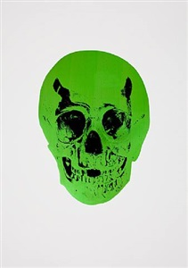 the dead lime green raven black skull by damien hirst
