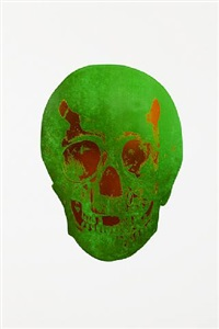 the dead lime green island copper skull by damien hirst