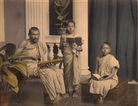 buddhist priest & acolytes, kaudy ceylon, august 18 by a.w. plate (co.)