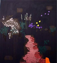 dark pink path, son caragol by bruce mclean