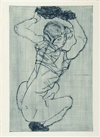 squatting woman by egon schiele