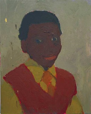 boy with tie and orange sweater by kurt knobelsdorf