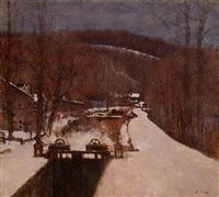 canal - lumberville winter by anthony michael autorino