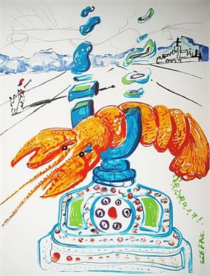 cibernetic lobster telephone (imaginations and objects of the future series) by salvador dalí