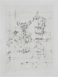 untitled 5 - woman with table and bowl by hans bellmer