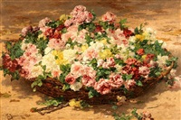 a still life of roses by georges jeannin