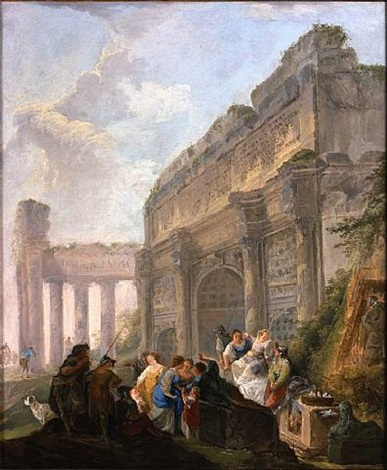 capriccio with a dove seller by hubert robert