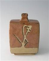 square bottle, kaki glaze with wax resist decoration by shoji hamada