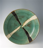 bowl, white and black trailing decoration by shoji hamada