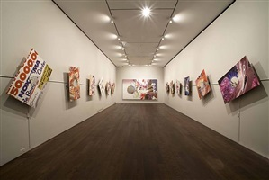 """installation view of works from """"the hole in the wallpaper"""" series (works stationary) and """"speed of light illustrated"""" 2008 by james rosenquist"""