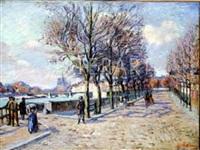 les quais de la seine à paris; la seine au quai henri iv by armand guillaumin