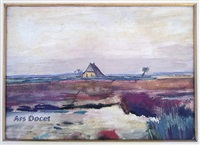 landscape in drenthe with a hut (moorlandschaff) by vincent van gogh