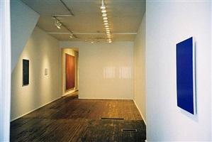 installation front room, joseph marioni (right), 'john zurier, robert ryman, joseph marioni: painting' 2/15/02 - 4/20/02 by joseph marioni