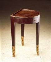 guéridon fer à cheval en amarante et marqueterie de bois clair / tripod table in amaranth and light-colour wood marquetry by émile jacques ruhlmann