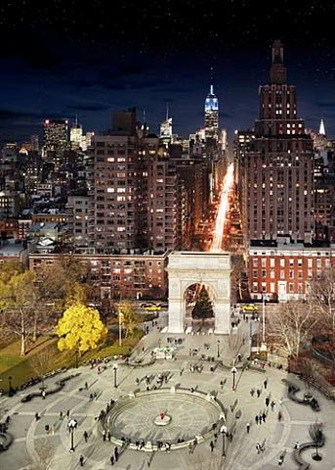 washington square, day into night by stephen wilkes