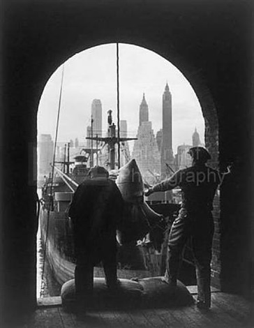 unloading coffee at brooklyn dock, new york by andreas feininger