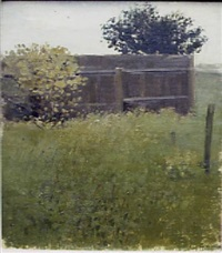 landscape with fence and bushes by albert york