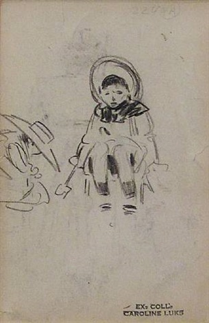 seated child figure study by george benjamin luks