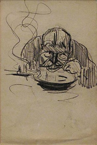 man eating soup figure study by george benjamin luks