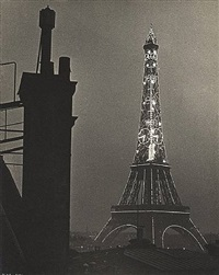 eiffel tower at night by ilse bing