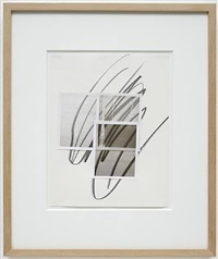 unsighted drawing w. 3 polaroids by william anastasi