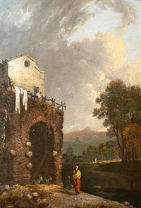 view in the ruins of hadrian's villa near tivoli by richard wilson