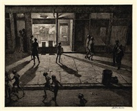 spring night, greenwich village by martin lewis