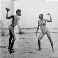 friends fighting with stones by malick sidibé