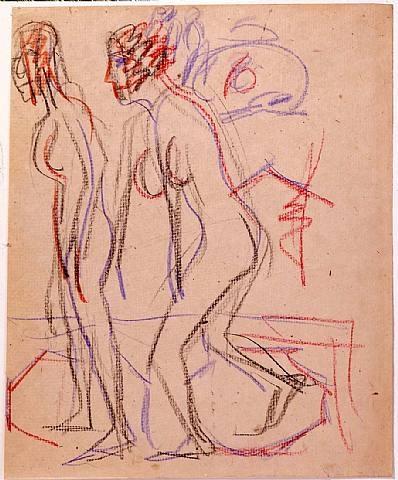 zwei schreitende nackte mädchen im atelier by ernst ludwig kirchner