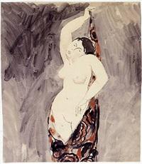 stehender weiblicher akt in ein tuch gehüllt by francis picabia