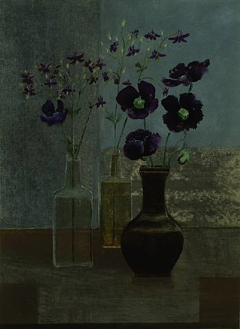 columbine & asian poppies in a chieng lung tea dust vase by morris graves