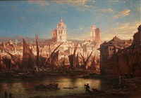 view of a continental european town by eduard hildebrandt